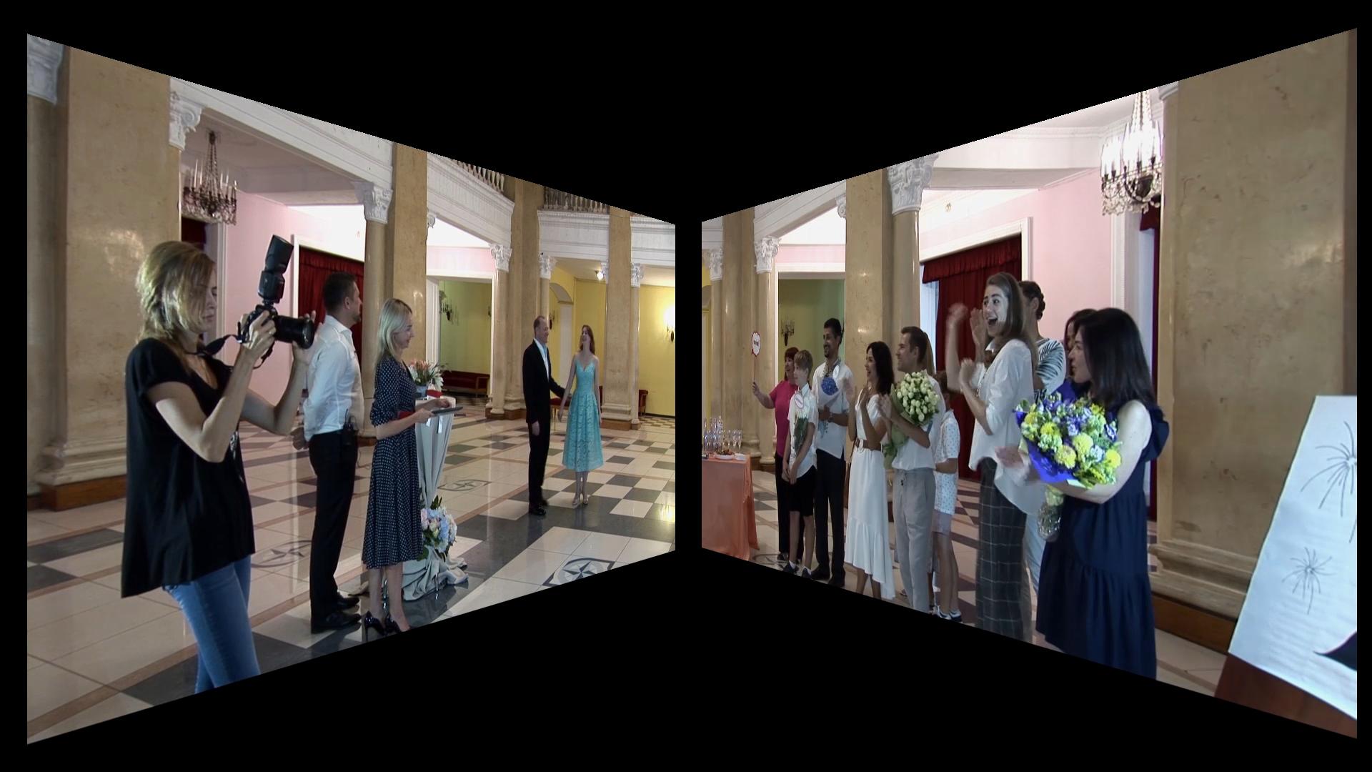 Двухоконный режим трансляции с расположением окон под углом на встречу друг другу